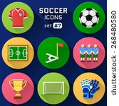 color flat icon set of soccer... | Shutterstock .eps vector #268480580