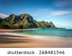 long exposure of makua beach or ... | Shutterstock . vector #268481546