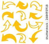 hand drawn arrows in yellow.... | Shutterstock .eps vector #268493918