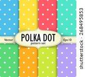 Set Of Colorful Polka Dot...