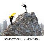 boss using megaphone commanding ... | Shutterstock . vector #268497353