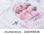 baby shoe and cross for...   Shutterstock . vector #268498838