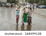 Small photo of Addis Ababa: Apr 10:Ethiopian Orthodox followers stand undeterred by the pouring rain to observe Siklet, the crucifixion of Jesus Christ, a Medhane Alem Church on Apr 10 ,2015 in Addis Ababa, Ethiopia