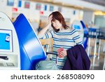 young female passenger at the... | Shutterstock . vector #268508090