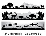 set of black and white vector... | Shutterstock .eps vector #268509668