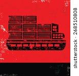 boat transport design on red... | Shutterstock .eps vector #268510808