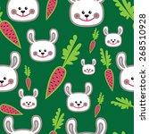 seamless texture with rabbit... | Shutterstock .eps vector #268510928