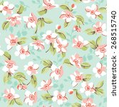 vintage floral and cherry... | Shutterstock .eps vector #268515740