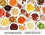 different products on saucers... | Shutterstock . vector #268520153