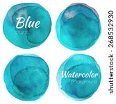 bright blue watercolor painted... | Shutterstock .eps vector #268532930