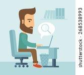 a buisnessman sitting infront... | Shutterstock .eps vector #268538993