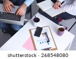 businessman using laptop and... | Shutterstock . vector #268548080