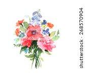 watercolor floral bouquet | Shutterstock .eps vector #268570904