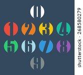 numbers set. design vector... | Shutterstock .eps vector #268580279