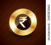 rupee golden coin design with...   Shutterstock .eps vector #268581860