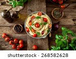 italian cuisine. pasta with...   Shutterstock . vector #268582628