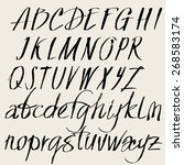 vector set of hand drawn font.... | Shutterstock .eps vector #268583174