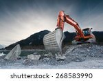 heavy organge excavator with... | Shutterstock . vector #268583990