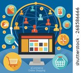 online shopping with icons ... | Shutterstock .eps vector #268586666