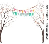watercolor tree party card.... | Shutterstock .eps vector #268588139
