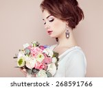Woman With Bouquet Of Flowers...