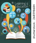 open book with education icons  ... | Shutterstock .eps vector #268598684