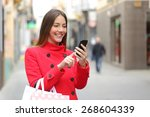 shopper woman buying online on... | Shutterstock . vector #268604339