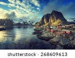 fishing hut at spring sunset  ... | Shutterstock . vector #268609613