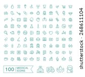 100 medical icons set over... | Shutterstock .eps vector #268611104