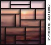 empty black  modern shelves on... | Shutterstock .eps vector #268618880
