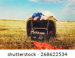 bald groom and brunette bride... | Shutterstock . vector #268622534