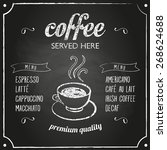 retro coffee typography sign on ... | Shutterstock .eps vector #268624688