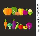 organic farm vegetables...   Shutterstock .eps vector #268635323