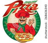 cook pizza. vector illustration ... | Shutterstock .eps vector #268636340