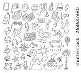 travel hand drawn cartoon set | Shutterstock .eps vector #268637660