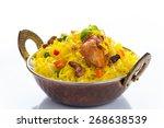 chicken biryani isolated   Shutterstock . vector #268638539