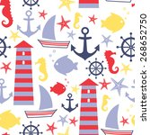 Seamless Sea Pattern  Sailboat  ...