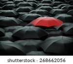 red umbrella over many black... | Shutterstock . vector #268662056