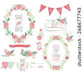 wedding rose wreath elements | Shutterstock .eps vector #268677743