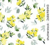 watercolor flowers. seamless... | Shutterstock .eps vector #268698443