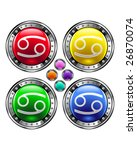 Round shiny vector button with cancer zodiac symbol icon on colorful background - stock vector