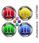 Round shiny vector button with gemini zodiac symbol icon on colorful background - stock vector
