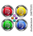 Round shiny vector button with virgo zodiac symbol icon on colorful background - stock vector