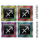 Square shiny vector button with sagittarius zodiac icon on black background - stock vector