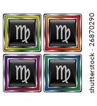 Square shiny vector button with virgo zodiac icon on black background - stock vector