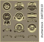 a set of coffee labels  retro... | Shutterstock .eps vector #268728110