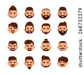 bearded male head vector... | Shutterstock .eps vector #268732379