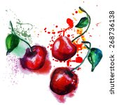 watercolor cherry | Shutterstock .eps vector #268736138