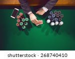 elegant male poker player with... | Shutterstock . vector #268740410
