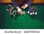 elegant male poker player with...   Shutterstock . vector #268740410